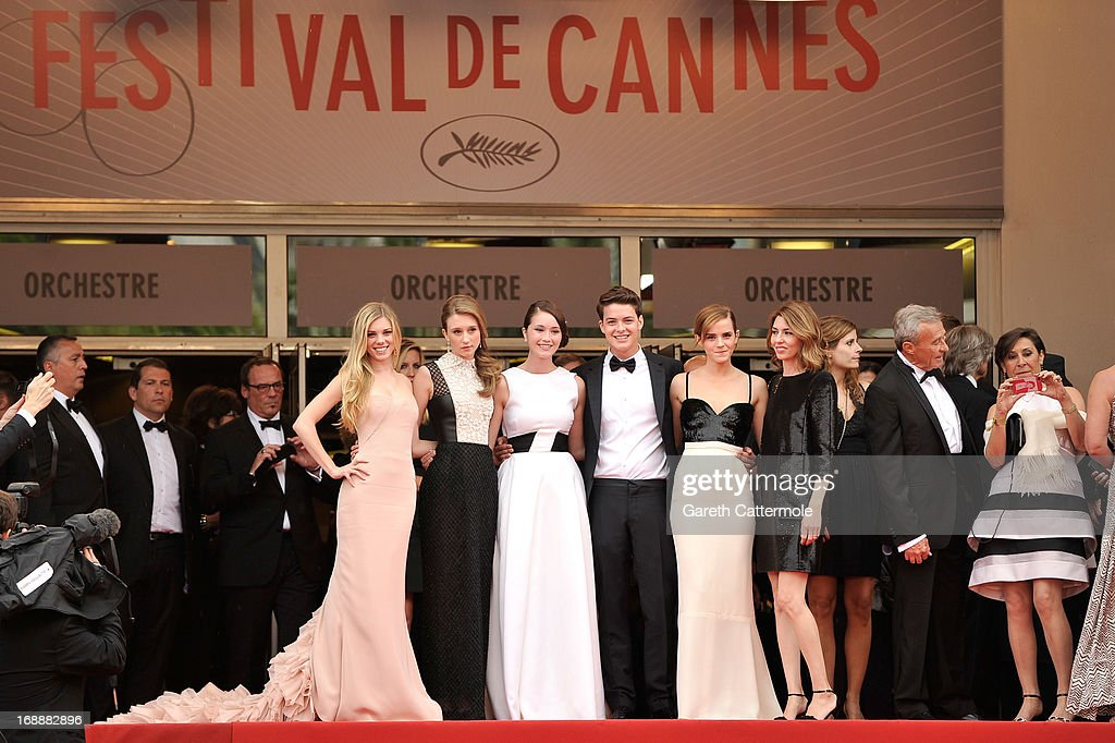 Actors Claire Julien, Taissa Fariga, Katie Chang, Israel Broussard, Emma Watson and director Sophia Coppola attend 'The Bling Ring' premiere during The 66th Annual Cannes Film Festival at the Palais des Festivals on May 16, 2013 in Cannes, France.