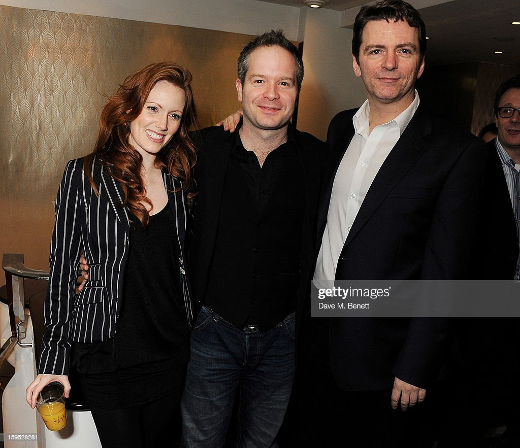 Actors Clare Foster, Damian Humbley and Glyn Kerslake attend the 2013 Critics' Circle Theatre Awards at the Prince Of Wales Theatre on January 15, 2013 in London, England.