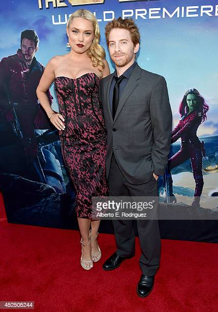 """Actors Clare Grant and Seth Green attend The World Premiere of Marvel's epic space adventure """"Guardians of the Galaxy"""" directed by James Gunn and..."""