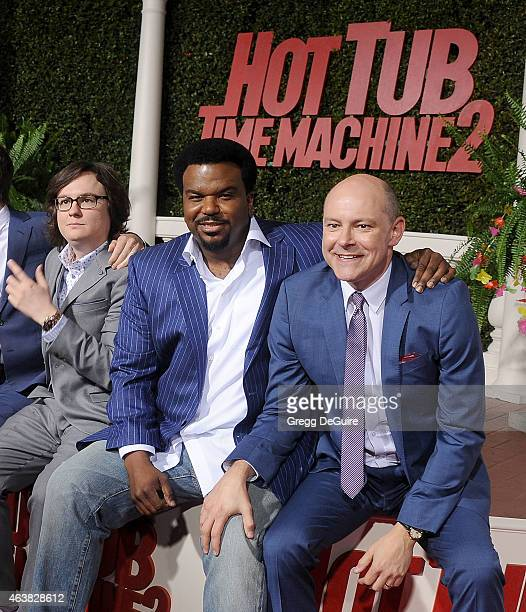 Actors Clark Duke Craig Robinson and Rob Corddry arrive at the Los Angeles premiere of 'Hot Tub Time Machine 2' at Regency Village Theatre on...