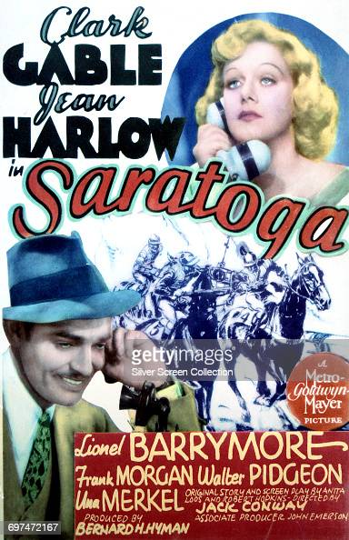 Actors Clark Gable as Duke Bradley and Jean Harlow as Carol Clayton on a poster for the MetroGoldwynMayer film 'Saratoga' 1937