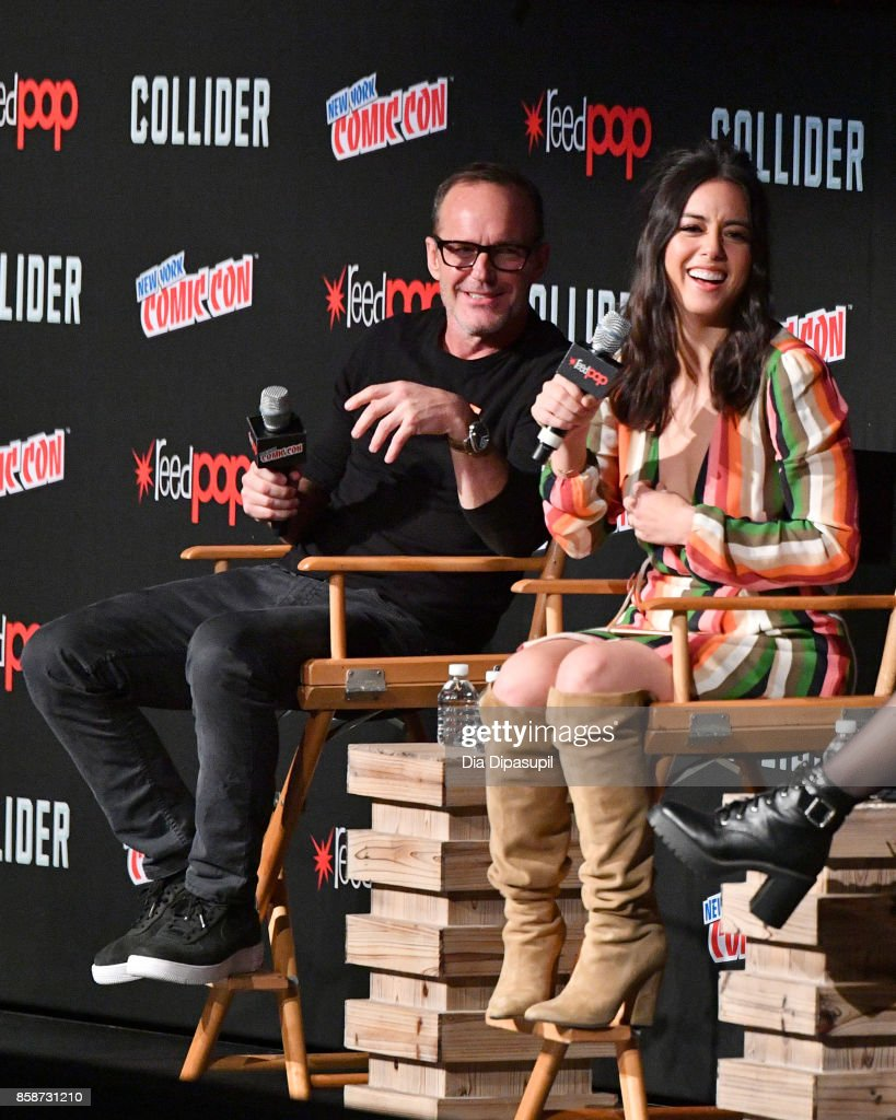 Actors Clark Gregg and Chloe Bennet speak at the Marvel's Agents of S.H.I.E.L.D. panel during 2017 New York Comic Con - Day 3 on October 7, 2017 in New York City.