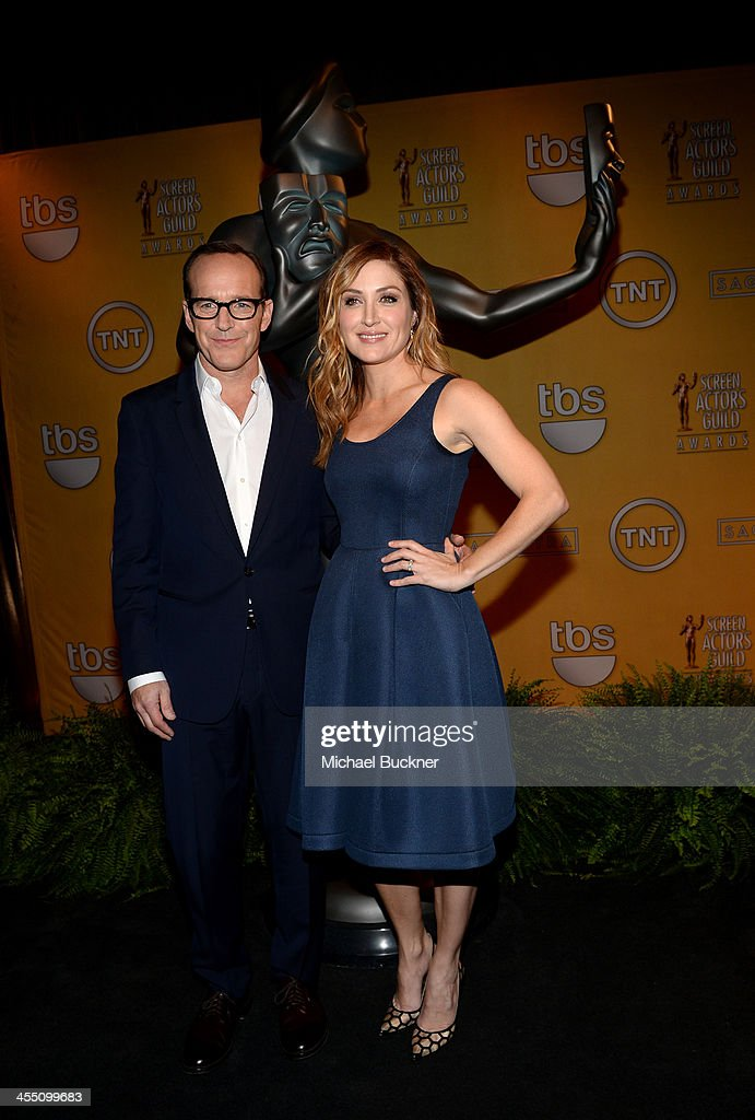 Actors <a gi-track='captionPersonalityLinkClicked' href=/galleries/search?phrase=Clark+Gregg&family=editorial&specificpeople=587275 ng-click='$event.stopPropagation()'>Clark Gregg</a> and <a gi-track='captionPersonalityLinkClicked' href=/galleries/search?phrase=Sasha+Alexander&family=editorial&specificpeople=215373 ng-click='$event.stopPropagation()'>Sasha Alexander</a> attend the 20th Annual Screen Actors Guild Awards Nominations Announcement at Pacific Design Center on December 11, 2013 in West Hollywood, California. 24092_002_2845.JPG