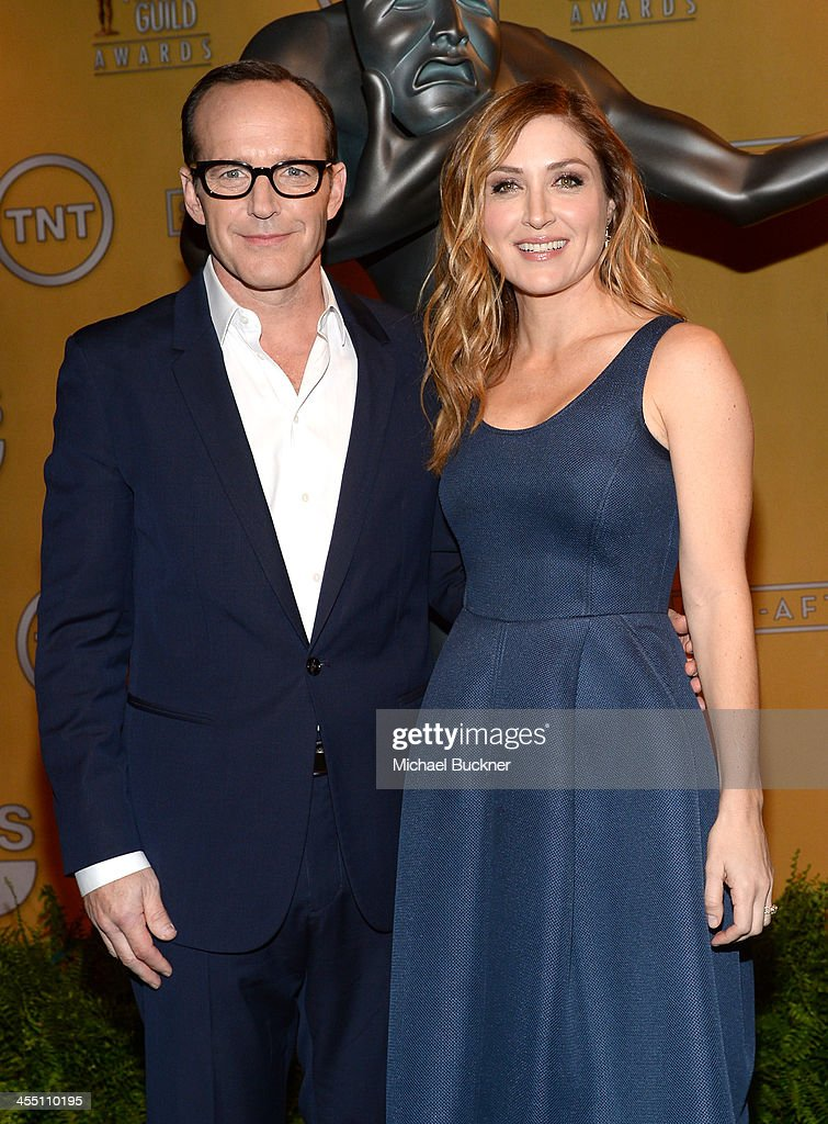 Actors <a gi-track='captionPersonalityLinkClicked' href=/galleries/search?phrase=Clark+Gregg&family=editorial&specificpeople=587275 ng-click='$event.stopPropagation()'>Clark Gregg</a> and <a gi-track='captionPersonalityLinkClicked' href=/galleries/search?phrase=Sasha+Alexander&family=editorial&specificpeople=215373 ng-click='$event.stopPropagation()'>Sasha Alexander</a> attend the 20th Annual Screen Actors Guild Awards Nominations Announcement at Pacific Design Center on December 11, 2013 in West Hollywood, California. 24092_002_2832.JPG