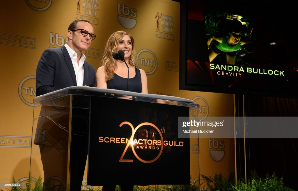Actors <a gi-track='captionPersonalityLinkClicked' href=/galleries/search?phrase=Clark+Gregg&family=editorial&specificpeople=587275 ng-click='$event.stopPropagation()'>Clark Gregg</a> and <a gi-track='captionPersonalityLinkClicked' href=/galleries/search?phrase=Sasha+Alexander&family=editorial&specificpeople=215373 ng-click='$event.stopPropagation()'>Sasha Alexander</a> speak at the 20th Annual Screen Actors Guild Awards Nominations Announcement at Pacific Design Center on December 11, 2013 in West Hollywood, California. 24092_002_2795.JPG