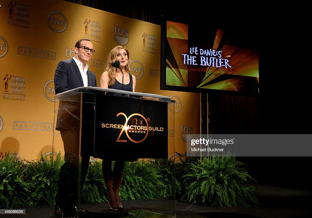 Actors <a gi-track='captionPersonalityLinkClicked' href=/galleries/search?phrase=Clark+Gregg&family=editorial&specificpeople=587275 ng-click='$event.stopPropagation()'>Clark Gregg</a> and <a gi-track='captionPersonalityLinkClicked' href=/galleries/search?phrase=Sasha+Alexander&family=editorial&specificpeople=215373 ng-click='$event.stopPropagation()'>Sasha Alexander</a> speak at the 20th Annual Screen Actors Guild Awards Nominations Announcement at Pacific Design Center on December 11, 2013 in West Hollywood, California. 24092_002_2811.JPG