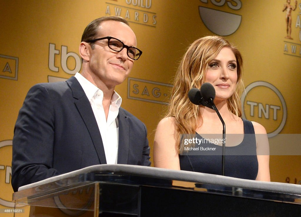 Actors <a gi-track='captionPersonalityLinkClicked' href=/galleries/search?phrase=Clark+Gregg&family=editorial&specificpeople=587275 ng-click='$event.stopPropagation()'>Clark Gregg</a> and <a gi-track='captionPersonalityLinkClicked' href=/galleries/search?phrase=Sasha+Alexander&family=editorial&specificpeople=215373 ng-click='$event.stopPropagation()'>Sasha Alexander</a> speak at the 20th Annual Screen Actors Guild Awards Nominations Announcement at Pacific Design Center on December 11, 2013 in West Hollywood, California. 24092_002_2773.JPG