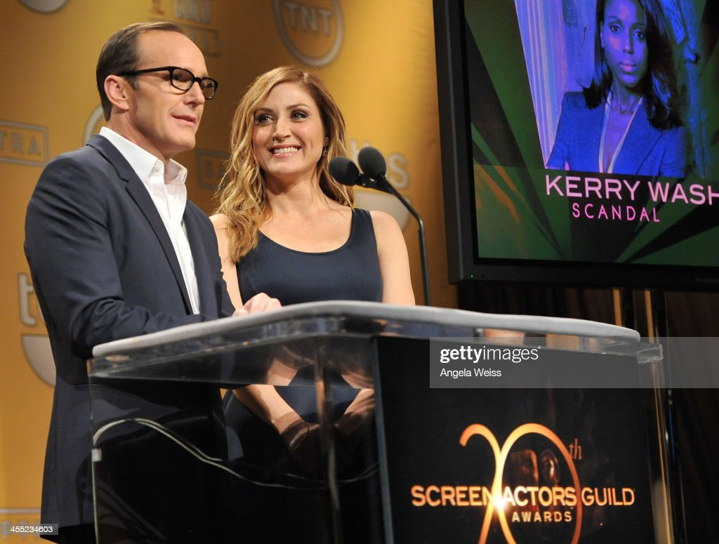 Actors <a gi-track='captionPersonalityLinkClicked' href=/galleries/search?phrase=Clark+Gregg&family=editorial&specificpeople=587275 ng-click='$event.stopPropagation()'>Clark Gregg</a> and <a gi-track='captionPersonalityLinkClicked' href=/galleries/search?phrase=Sasha+Alexander&family=editorial&specificpeople=215373 ng-click='$event.stopPropagation()'>Sasha Alexander</a> speak at the 20th Annual Screen Actors Guild Awards Nominations Announcement at Pacific Design Center on December 11, 2013 in West Hollywood, California.
