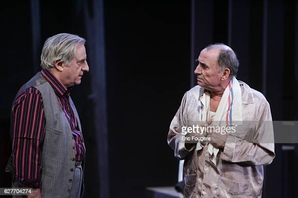 Actors Claude Brasseur and Michel Aumont perform during the spinning of Yves Ravey's play 'Dieu est un Steward de Bonne Composition' at the Rond...