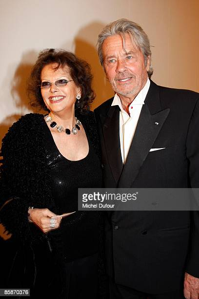 Actors Claudia Cardinale and Alain Delon attend the gala hosted by Lola KarimovaTillyaeva Uzbekistan's representative to UNESCO to launch the charity...
