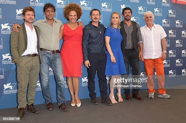 Actors Claudio Gioe Adriano Giannini Iris Peynado director Michele Alhaique actors Greta Scarano Pierfrancesco Favino and Ninetto Davoli attend the...