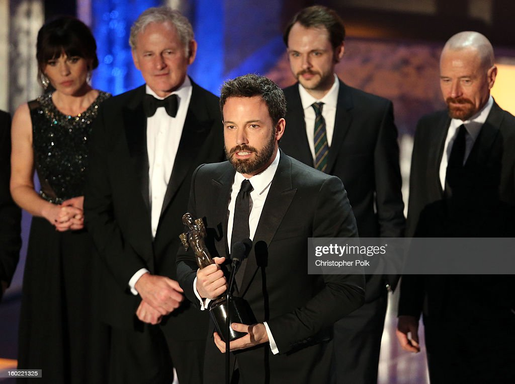 Actors Clea DuVall, Victor Garber, Ben Affleck, Christopher Denham and Bryan Cranston speak onstage during the 19th Annual Screen Actors Guild Awards at The Shrine Auditorium on January 27, 2013 in Los Angeles, California. (Photo by Christopher Polk/WireImage) 23116_012_2129.JPG
