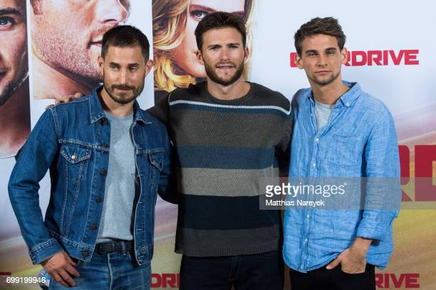 Actors Clemens Schick Scott Eastwood and Freddie Thorp attend the 'Overdrive' Photo Call at Hotel De Rome on June 21 2017 in Berlin Germany