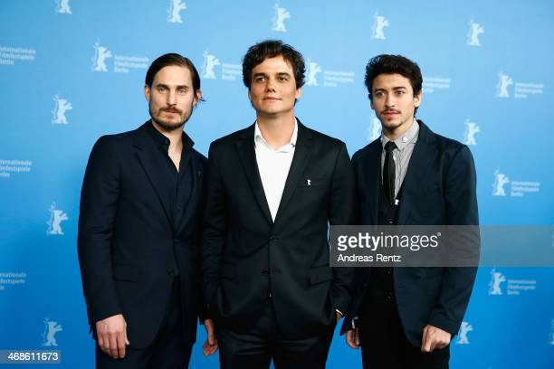 Actors Clemens Schick Wagner Moura and Jesuita Barbosa attend the 'Praia do futuro' photocall during 64th Berlinale International Film Festival at...