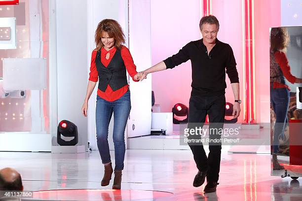 Actors Clementine Celarie and Bruno Wolkowitch present the TV Series 'Accuse' during the 'Vivement Dimanche' French TV Show at Pavillon Gabriel on...
