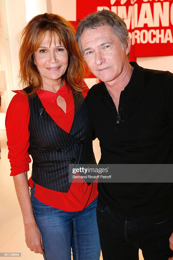 Actors Clementine Celarie and Bruno Wolkowitch present the TV Series 'Accuse' during the 'Vivement Dimanche' French TV Show at Pavillon Gabriel on January 7, 2015 in Paris, France.