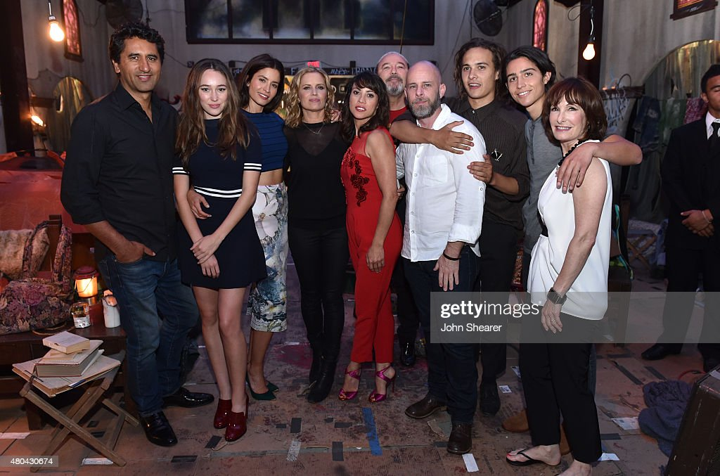 Actors Cliff Curtis, Alycia Debnam-Carey, Mercedes Mason, Kim Dickins, Elizabeth Rodriguez, Ruben Blades, Writer/producer Dave Erickson, actors Frank Dillane, Lorenzo James Henrie and producer Gale Anne Hurd attend AMC's 'Fear The Walking Dead' during Comic-Con International 2015 at the Hilton Bayfront on July 11, 2015 in San Diego, California.