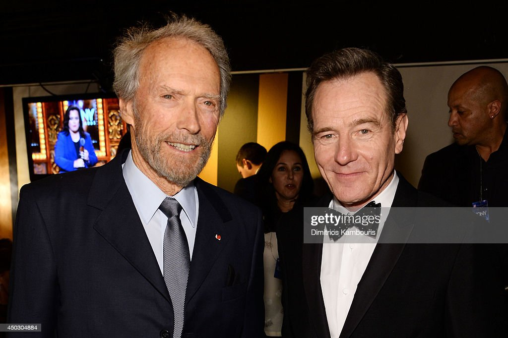 Actors <a gi-track='captionPersonalityLinkClicked' href=/galleries/search?phrase=Clint+Eastwood&family=editorial&specificpeople=201795 ng-click='$event.stopPropagation()'>Clint Eastwood</a> (L) and <a gi-track='captionPersonalityLinkClicked' href=/galleries/search?phrase=Bryan+Cranston&family=editorial&specificpeople=217768 ng-click='$event.stopPropagation()'>Bryan Cranston</a> attend the 68th Annual Tony Awards at Radio City Music Hall on June 8, 2014 in New York City.
