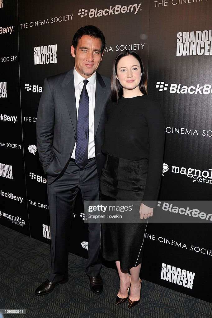 Actors <a gi-track='captionPersonalityLinkClicked' href=/galleries/search?phrase=Clive+Owen&family=editorial&specificpeople=201515 ng-click='$event.stopPropagation()'>Clive Owen</a> and <a gi-track='captionPersonalityLinkClicked' href=/galleries/search?phrase=Andrea+Riseborough&family=editorial&specificpeople=4395380 ng-click='$event.stopPropagation()'>Andrea Riseborough</a> attend a screening of Magnolia Pictures' 'Shadow Dancer' hosted by The Cinema Society & BlackBerry at Sunshine Landmark on May 30, 2013 in New York City.