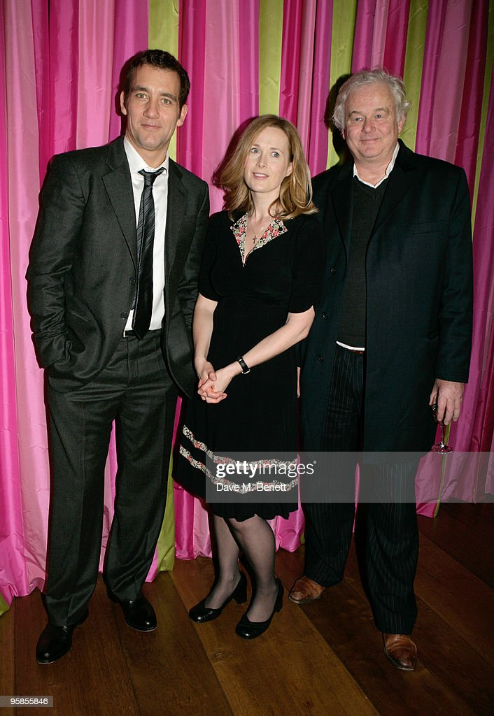 Actors Clive Owen and Natasha Little with writer Simon Carr attend the screening of 'The Boys Are Back' at the Soho Hotel on January 18 2010 in...