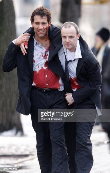 Actors Clive Owen and Ulrich Thomsen sighting filming a scene for the movie 'The International' on the upper eastside on January 13 2008 in New York...