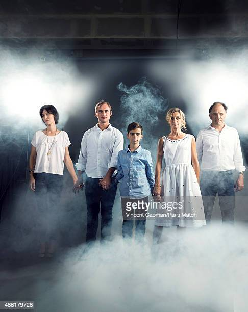 Actors Clotilde Hesme Swann Nambotin Anne Consigny and Frederic Pierrot with the film director and scriptwriter Fabrice Gobert of Les Revenants are...