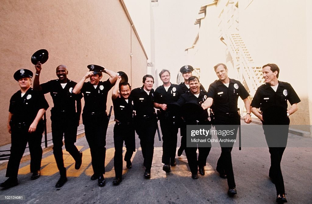Actors Clyde Kusatsu, Charles Durning, Louis Gossett Jr., James Woods, Randy Quaid and Perry King in a scene from the movie 'The Quoirboys' in 1977 in Los Angeles, California.