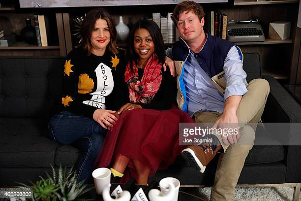 Actors Cobie Smulders Gail Bean and Anders Holm attend The Variety Studio At Sundance Presented By Dockers on January 25 2015 in Park City Utah