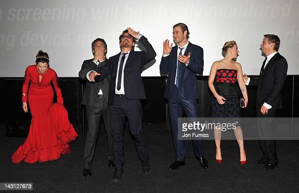 Actors Cobie Smulders Mark Ruffalo Robert Downey Jr Chris Hemsworth Scarlett Johansson and Jeremy Renner attend the European Premiere of Marvel...