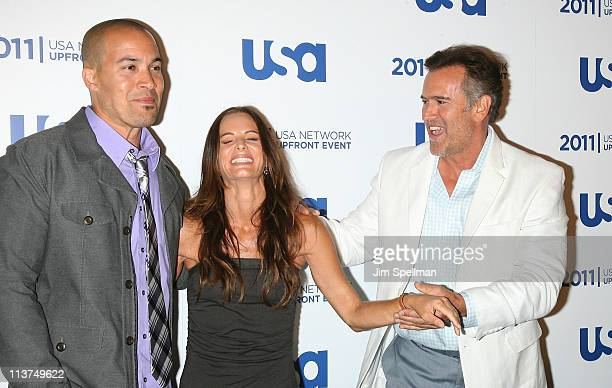 Actors Coby Bell Gabrielle Anwar and Bruce Campbell attends the 2011 USA Upfront at The Tent at Lincoln Center on May 2 2011 in New York City