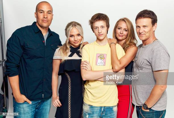 Actors Coby Bell Natalie Alyn Lind Percy HynesWhite Amy Acker and Stephen Moyer from FOX's 'The Gifted' pose for a portrait during ComicCon 2017 at...