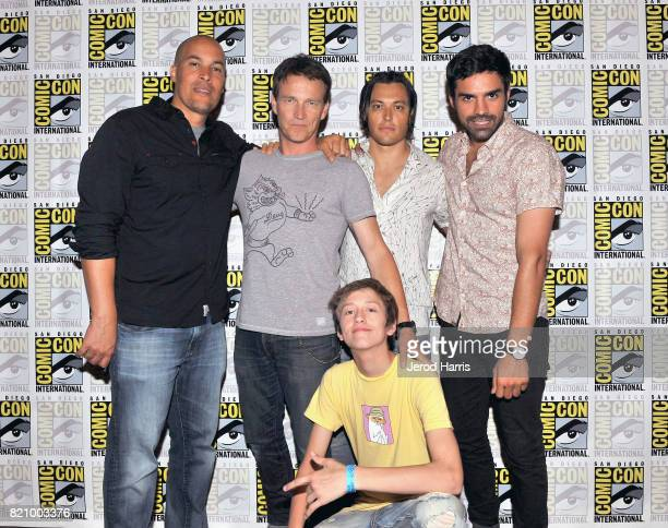 Actors Coby Bell Stephen Moyer Percy Hynes White Blair Redford and Sean Teale at 'The Gifted' Press Line during ComicCon International 2017 at Hilton...