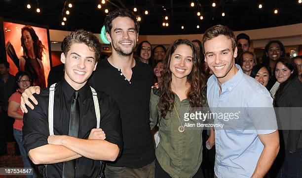 Actors Cody Christian Brant Daugherty Maiara Walsh and Ross Wyngaarden attend 'The Starving Games' Hunger Games Spoof meet and greet at AMC Orange 30...