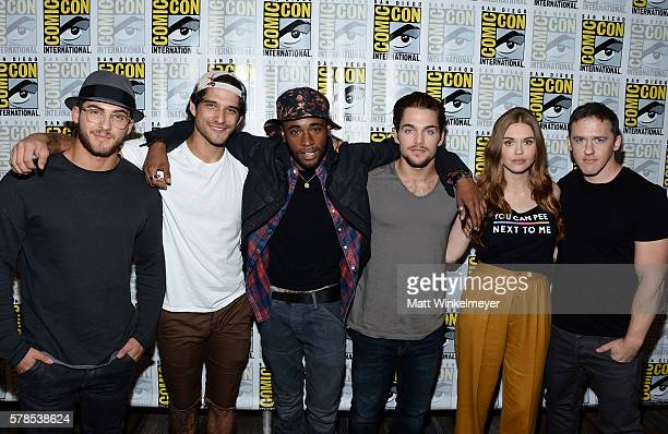 Actors Cody Christian Tyler Posey Khylin Rhambo Dylan Sprayberry Holland Roden and creator Jeff Davis attend the 'Teen Wolf' press line during...