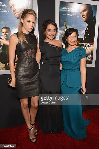 Actors Cody Horn Natalie Martinez and America Ferrera arrive at the 'End Of Watch' Los Angeles Premiere at Regal Cinemas LA Live on September 17 2012...