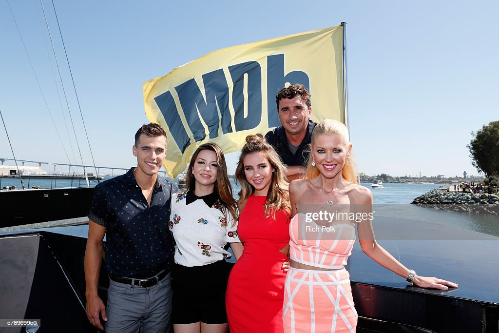Actors Cody LinleyMasiela Lusha Ryan Newman Tara Reid and director Anthony Ferrante attend the IMDb Yacht at San Diego ComicCon 2016 Day Two at The...