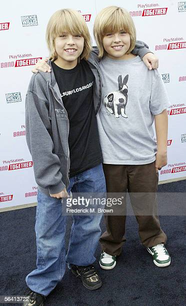 Actors Cole and Dylan Sprouse attend the Bruce Willis Foundation Presents PlayStation BANDtogether at Smashbox Studios on December 10 2005 in Culver...