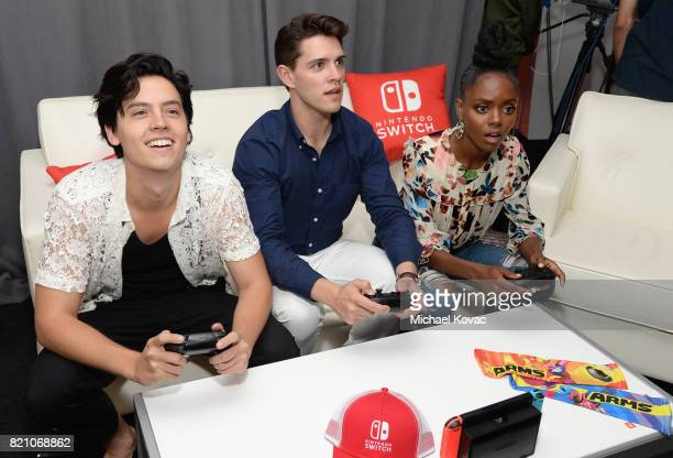 Actors Cole Sprouse Casey Cott and Ashleigh Murray from the television series 'Riverdale' stopped by Nintendo at the TV Insider Lounge to check out...