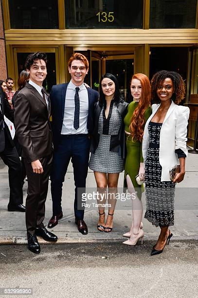 Actors Cole Sprouse KJ Apa Camilla Mendes Madelaine Petsch and Ashleigh Murray leave the New York City Center on May 19 2017 in New York City