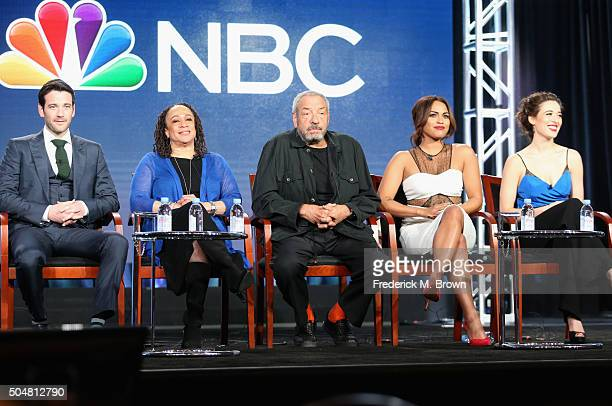 Actors Colin Donnell and S Epatha Merkerson of 'Chicago Med' Executive producer Dick Wolf and actors Monica Raymund of 'Chicago Fire' and Marina...