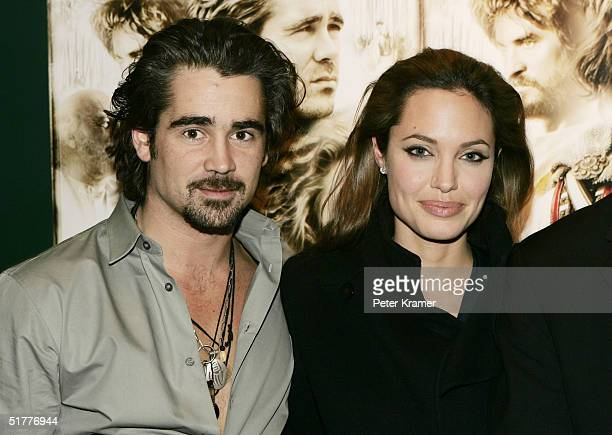 Actors Colin Farrell and Angelina Jolie attend a special screening of 'Alexander' at Lincoln Center on November 22 2004 in New York City