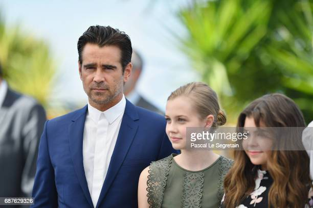 Actors Colin Farrell Angourie Rice and Addison Riecke attend 'The Beguiled' photocall during the 70th annual Cannes Film Festival at Palais des...