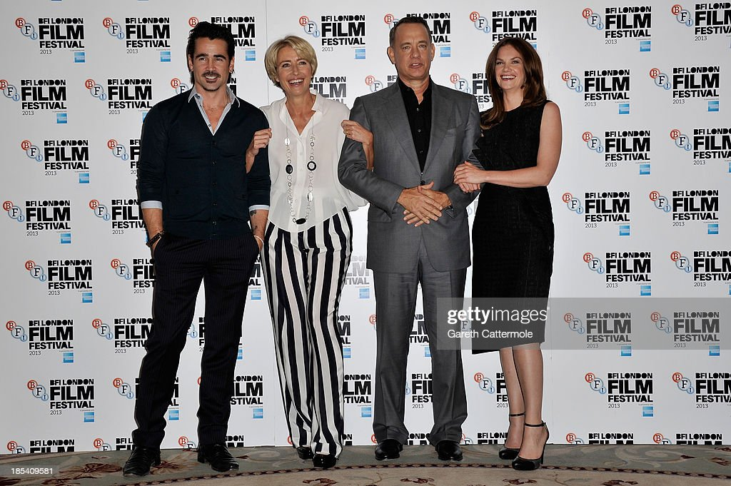 Actors Colin Farrell, Emma Thompson, Tom Hanks and Ruth Wilson attend the photocall for 'Saving Mr Banks' during the 57th BFI London Film Festival at The Dorchester on October 20, 2013 in London, England.