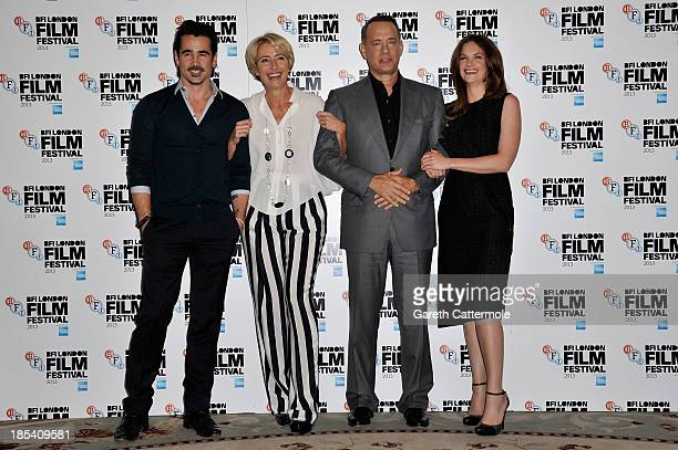 Actors Colin Farrell Emma Thompson Tom Hanks and Ruth Wilson attend the photocall for 'Saving Mr Banks' during the 57th BFI London Film Festival at...