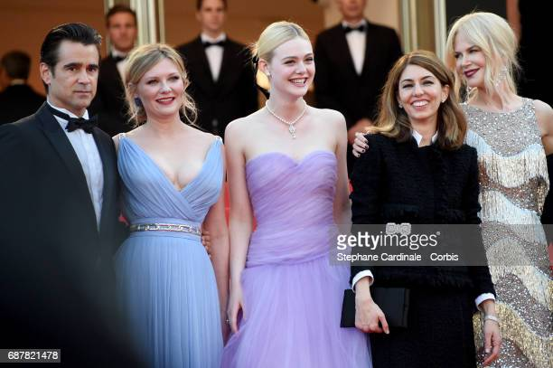 Actors Colin Farrell Kirsten Dunst and Elle Fanning director Sophia Coppola and actor Nicole Kidman attend 'The Beguiled' premiere during the 70th...