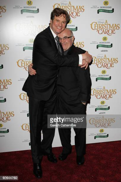 Actors Colin Firth and Bob Hoskins arrive for the World Film Premiere of Disney's 'A Christmas Carol' at the Odeon Leicester Square on November 3...