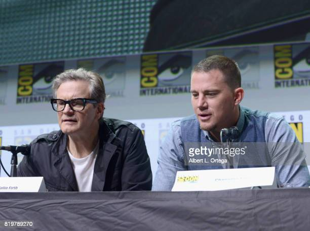 Actors Colin Firth and Channing Tatum speak onstage at the 20th Century FOX panel during ComicCon International 2017 at San Diego Convention Center...