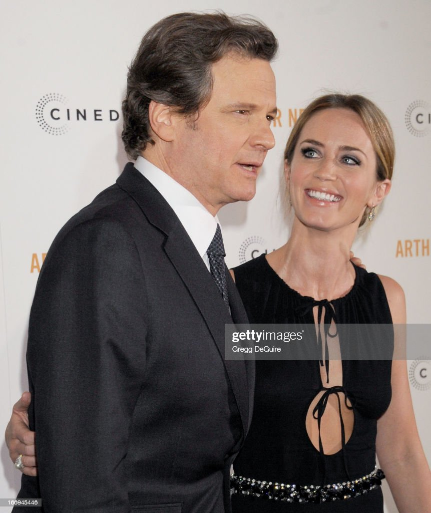 Actors <a gi-track='captionPersonalityLinkClicked' href=/galleries/search?phrase=Colin+Firth&family=editorial&specificpeople=201620 ng-click='$event.stopPropagation()'>Colin Firth</a> and <a gi-track='captionPersonalityLinkClicked' href=/galleries/search?phrase=Emily+Blunt&family=editorial&specificpeople=213480 ng-click='$event.stopPropagation()'>Emily Blunt</a> arrive at the Los Angeles premiere of 'Arthur Newman' at ArcLight Hollywood on April 18, 2013 in Hollywood, California.