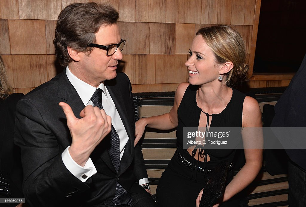 Actors <a gi-track='captionPersonalityLinkClicked' href=/galleries/search?phrase=Colin+Firth&family=editorial&specificpeople=201620 ng-click='$event.stopPropagation()'>Colin Firth</a> and <a gi-track='captionPersonalityLinkClicked' href=/galleries/search?phrase=Emily+Blunt&family=editorial&specificpeople=213480 ng-click='$event.stopPropagation()'>Emily Blunt</a> attend the after party for the premiere of Cinedigm's 'Arthur Newman' at on April 18, 2013 in Hollywood, California.