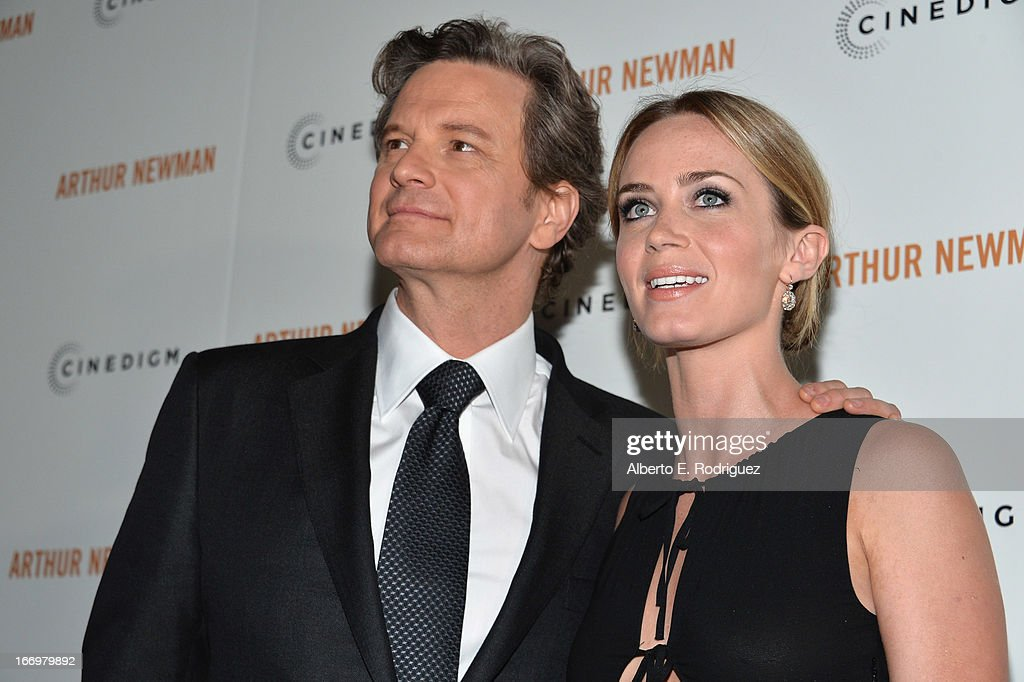 Actors Colin Firth and Emily Blunt attend the premiere of Cinedigm's 'Arthur Newman' at ArcLight Hollywood on April 18, 2013 in Hollywood, California.